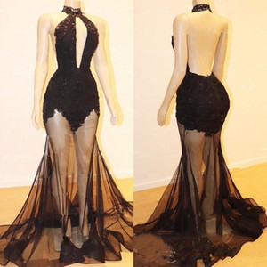 2020 Sexy Black Prom Dress Sleeveless With Tulle Sweep Train Custom Made Formal Evening Dresses Party Gowns