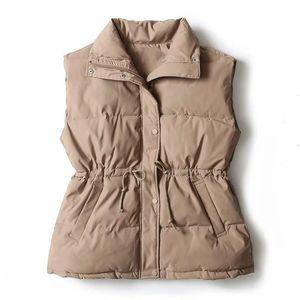 Womens new Vest Sleeveless Jacket Down Cotton Winter Waistcoat Korean Lace Solid Plus Size Autumn Women Vest Coat Gilet Femme