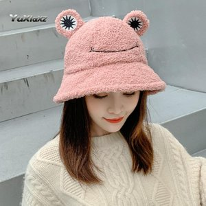 2020 women's autumn and winter new retro warm bowl hat all-match fashion cat ear lamb velvet bucket hat