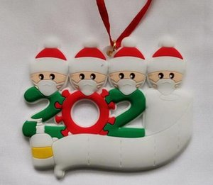 PVC 2020 Quarantine Christmas Ornament Christmas Tree pendent Decoration Gift snowman Family Of Ornament with mask Hand Sanitized rt6y6gh