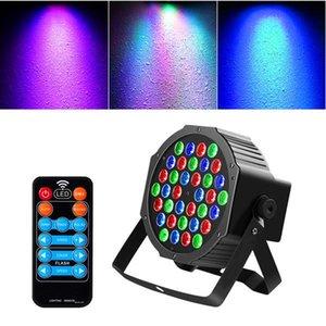 Новейший дизайн 36W 36-LED RGB Remote / Auto / Sound Control Control DMX512 Высокая яркость Мини DJ Party Party Stage Lamp Wit * 4 Dimmable Beger Lights