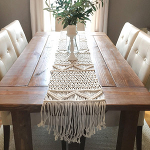 Nordic Style Woven Table Runner 35x200CM Boho Wedding Party Decoration Handmade Hollow Out Macrame Table Runner with Tassels