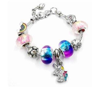 DIY Rainbow Bead Crystal Beaded Snake Bone Bracelet Full Diamond Unicorn Children Bracelet Gift