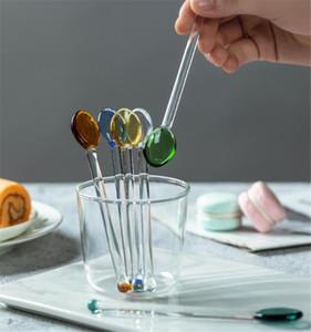 Hot Bar Dining Clear Glass Glass Icea Cream Cucchiaio Stirring Rod Stick Coffee Cucchiaini da tè Cucchiaino da cucina Dinnerware Eco-friendly Tableware regalo