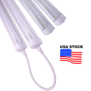 V-Shaped 4ft 5ft 6ft 8ft Cooler Door 6000K Led Tubes T8 Integrated Led Tubes Double Sides Led Lights fixture Stock In USA