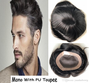 Stocked Mens Toupee Mono Lace with PU Thin Skin Perimeter Real Human Hair Toupee Top Quality Hair Pieces Free Shipping