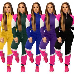 Outfit beiläufige Art und Weise Drei Farbe Panelled Sport 2ST Sets Herbst-Winter-Frauen Kleidung Frau 2 Stück