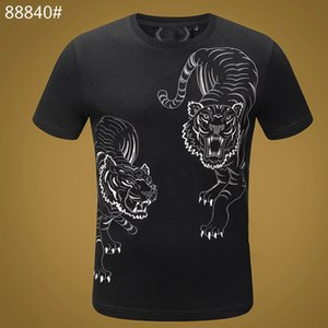 100% Cotton tiger T Shirts Men Summer Skull T-shirt Basic Solid crystal Casual Punk High Quality letter tops Tee clothing short sleeve M-3X