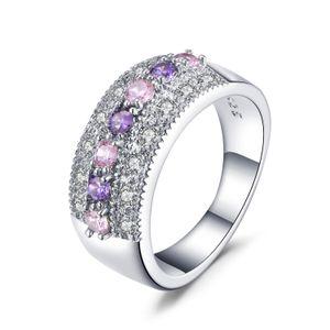 Fashion Jewelry Women Wedding Rainbow couple heart 4ct zircon rose Gold Filled Engagement Ring set alliance