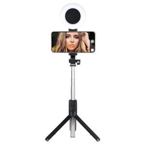 Anello Bluetooth Bluetooth selfie bastone allungabile in diretta Treppiede selfie Stick Support Ring LED Luce senza fili Tripod For Live