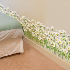 [Shijuekongjian] Daisy Wall Etiqueta de la pared Pegatinas de base de hierba Flower Mural Calcomanías para la habitación para niños Dormitorio de bebé Decoración1