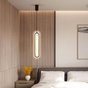 Chandelier Nordic  modern bedside led chandelier creative background wall lighting hotel bedroom minimalist line lamps