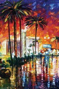 LAS VEGAS LEONID Afremov Home Décor peint à la main HD Imprimer Peintures à l'huile sur toile Wall Art Photos Pour Living Room 201007