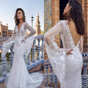 Elihav Sasson Mermaid Wedding Dresses Beading Sweep Train Long Sleeve Bridal Gowns Floral Appliques Marriage Dress Robe De Mariee