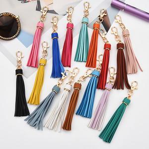 22 Colors PU Tassel Keychain Long Tassel Key Ring Fashion DIY Luggage Accessories Car Key Chain Leather Tassel Party Favor