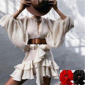 2021 spring autumn new listing fashion Chiffon dress women puff sleeve O-neck Your waist falbala dress sexy casual Vacation beach dress