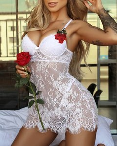 Mujeres Summer Edge Ropa erótica Vestido Sexy Trajes Satén Bustier Silky Baby Doll Lingerie Nightgown Pijamas