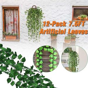 12 قطع 7.5ft النباتات الاصطناعية شنقا اللبلاب ورقة الاصطناعي البطيخ العنب يترك شنقا كرمة النباتات الحرير الخضراء ديكور المنزل