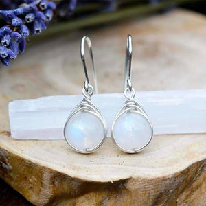 Fashion Women Silver Plated Vintage White Fire Opal Wedding Earrings Women Dangle Drop Earrings Moonstone Earring Jewelry Gifts