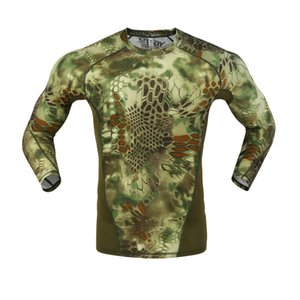 Outdoor tactical tight camouflage quick drying clothes Python pattern camouflage underwear tactical elastic moisture absorption sweat wickin
