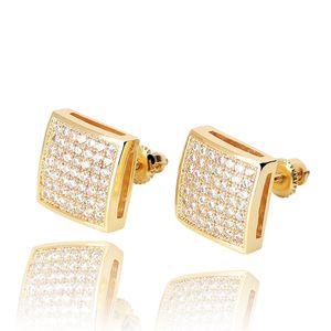 Boucles d'oreilles HIP HOP Boucles d'oreilles Vue carrée Blanc Zircon DANNGLE Boucles d'oreilles Gold Plaqué Vintage bijoux géométriques Vente en gros