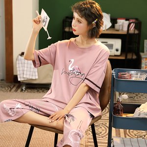 M-5XL القطن النساء منامة مجموعات لطيف الحيوان الفتيات النوم البيجامات البدلة ملابس المنزل أكبر بيجامة فام