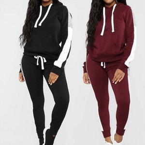 NIBESSER Long Sleeve Tracksuit Women Stripe Running Set Winter Fall Jogging Sweat Pants Sportswear Female Sport Suits Hoodies