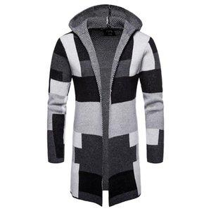 Männer gestreifte Strickjacke Mantel Pullover mit Kapuze Mantel Lange Windjacke Mantel Mantel gestrickten Pullover Big Size 5XL Strickjacken-Oberbekleidung