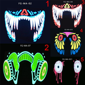 Moda Cool LED Luminous Luminous Meia Face Máscara Festa Máscaras de Evento Light Up Dança Cosplay impermeável EWD2408