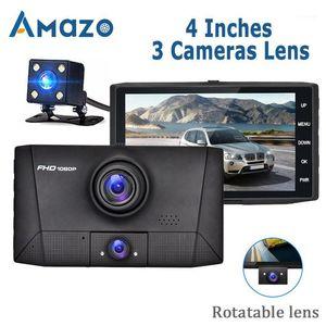 Car DVR 3 في 1 DVR Dash Camera Car Service Video Company Recorder Registrator 2 كاميرات 170 واسعة زاوية داش كاميرا