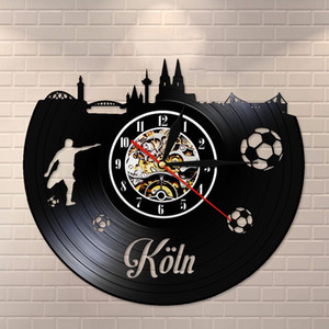 Kln Skyline Vintage Vinyl Record Wall Clock Cologne Cityscape Scenery Wall Watch Silent Non ticking Germany Traveling Gift