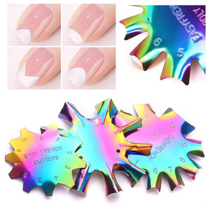 Wholesale French Smile Line Edge Trimmer Cutter Acrylic Nail Tips Mold Guides Stainless Steel Chameleon Nails Template Manicure Tools