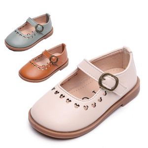 Kids Buckle Shoes Girl Mary Jane Shoes 2021 Spring New Baby Child Fashion Non-slip Plat Heel Princess Shoes Size 21-30 Beige 8s-1