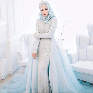 Arabic Muslim Light Sky Blue Wedding Dresses With Detachable Train Overskirts 2021 Long Sleeve Hijab Pearls Long Bridal Gowns Engagement