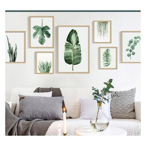 Green Plant Digital Painting Modern Decorated Picture Framed Painting Fashion Art Painted Hotel Sofa Wall Decoration sqcBvZ bbgargden