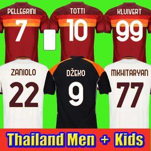 Jersey de fútbol como De Rossi Dzeko Zaniolo Totti Perotti Kolarov 20 21 Camisa de fútbol 2020 2021 Men + Kit Kit Uniforms Maillot