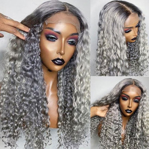Curly Grey Colored Human Hair Wig Brazilian Remy Bleach Knots Ombre HD Transparent Lace Front Wig For Black Women 180 Density