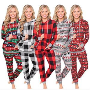 Женская Рождество Пижама Набор из двух частей Эпикировка с капюшоном Пижамы плед Полосатый Толстовка Блуза и брюки Пижамы Xmas Одежда Ночное LY11023