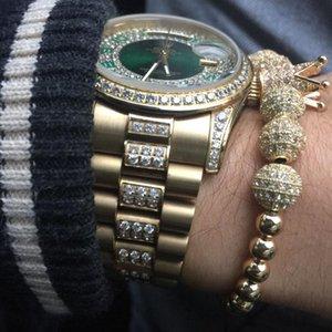 Dei braccialetti NADEEM zircone uomini di modo cubico della CZ Il micro Corona 8 millimetri palla di rame intrecciato branello di fascino del Macrame il braccialetto