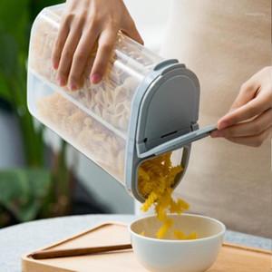 Frascos de armazenamento frascos 2.6L Caixa de preservação de plástico retangular transparente 2 grades multi-grão selado frasco tanque doméstico para feijão1