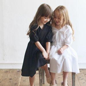 2T to 16 Y,2020 New Summer Mommy and Me Dress V-neck Half-sleeve Kids Shirt Dress Girls Cotton Dress Children Midi Dress,#5578