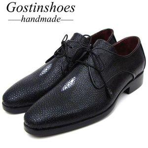 Gostinshoes goodyear welted hombres de lujo vestido de lujo zapatos formales boda elegantes zapatos para hombre negro oxfords SCF46 Stingray Skin Office
