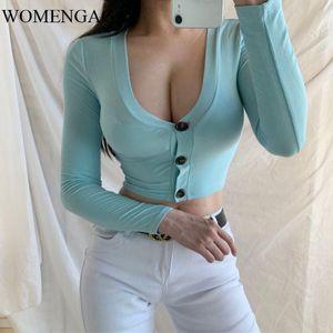 WOMENGAGA New Sexy Low Chest однорядной Кнопка Сплошных шоу Цвет Тонкие Navel Exposed Короткого Полный рукав свитер осень MI8T
