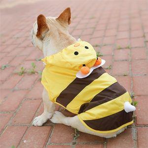Köpek Yağmurluk Sarı Tea Sevimli Küçük Köpek Yağmur Coat Büyük Köpekler için Pet Giysileri Su Geçirmez Fransız Bulldog Yağmur Mont XS-7XL Cloak 201225