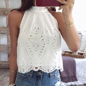 Blouse Women Shirt Ladies Tops Sexy Sleeveless Halter Hollow Shirt Pullover Vest Women Tops White Blouse1