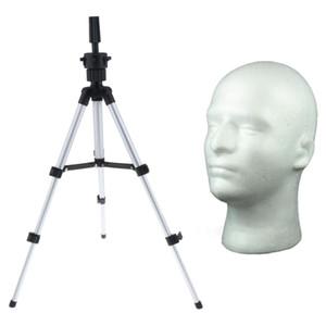 Masculino isopor Mannequin Cabeça Cosméticos Modelo Peruca Óculos de exibição W / Tripé