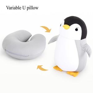 High Quality Penguin Deformable U-shaped Neck Cushion Travel Pillow Plush Animal Car Headrest Doll Multi-functional Storage Y1224
