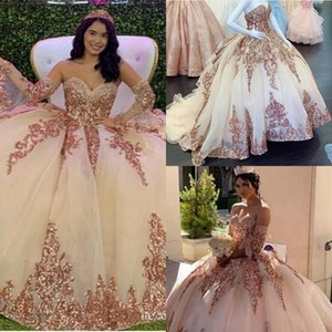 2021 Sparkle Rose Gold Sequined Quinceanera Dresses Lace Sweetheart Puff Princess Long Sleeves Ball Gown Prom Party Dress Formal Wear AL8341