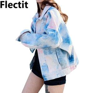 Flectit Пастель Tie Dye джинсовой куртка Женщина Крупногабаритный с длинным рукавом с отворотом Карман Street Style джинсовой курткой