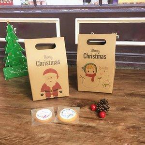 10pcs 10 * 6 * 15.5cm DIY Feliz Navidad Kraft Caja de papel Bolsa de mano pequeña mano retro encantador joyería regalo envolviendo dulces festival regalo1